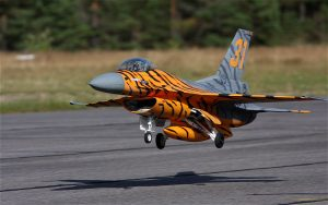 Jämi has a lot of RC airplane activity. F-16-RC landing on runway 27. Photo Taneli Äikäs. (Click to enlarge)