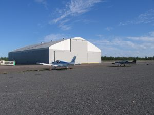 The big hangar in all its glory, still being finalised in 21.8.2015. Photo: Veikko Karasvirta