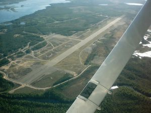 Pudasjärvi airfield from the air as seen from the east end of the field. Photo Jari Kaija. (Click to enlarge)